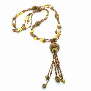Chico's Fashion Beaded Tassel Statement Necklace